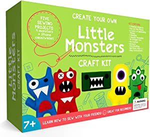 Little Monsters Beginners Sewing Craft Kit for Kids (Ages 7 to 12) Educational Gift for Boys and Girls