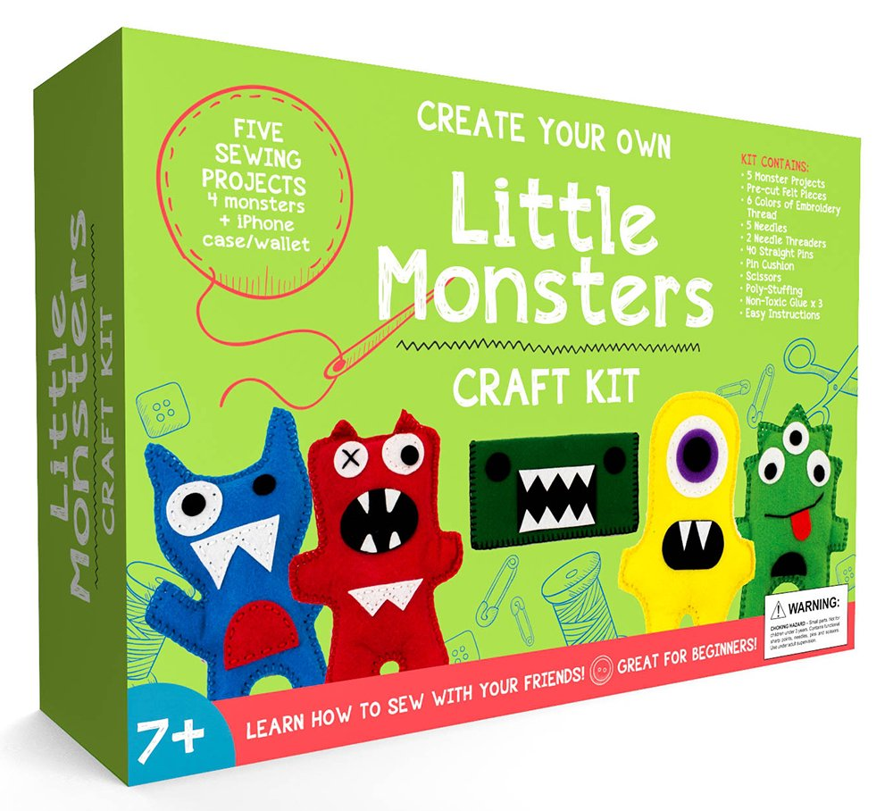 CraftLab Little Monsters Beginners Sewing Craft Kit for Kids (Ages 7 to 12) by CraftLab