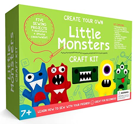 Craftsters Sewing Kits Little Monsters Beginners Craft Kit For Kids Ages 7 To 12