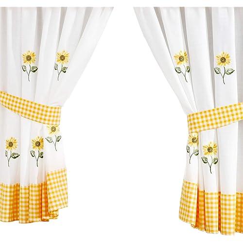 Black And Yellow Kitchen Curtains: Kitchen Curtains: Amazon.co.uk