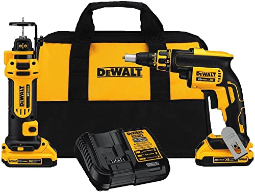 DEWALT 20V MAX XR Drywall Screw Gun Cut-out Tool Combo Kit DCK263D2