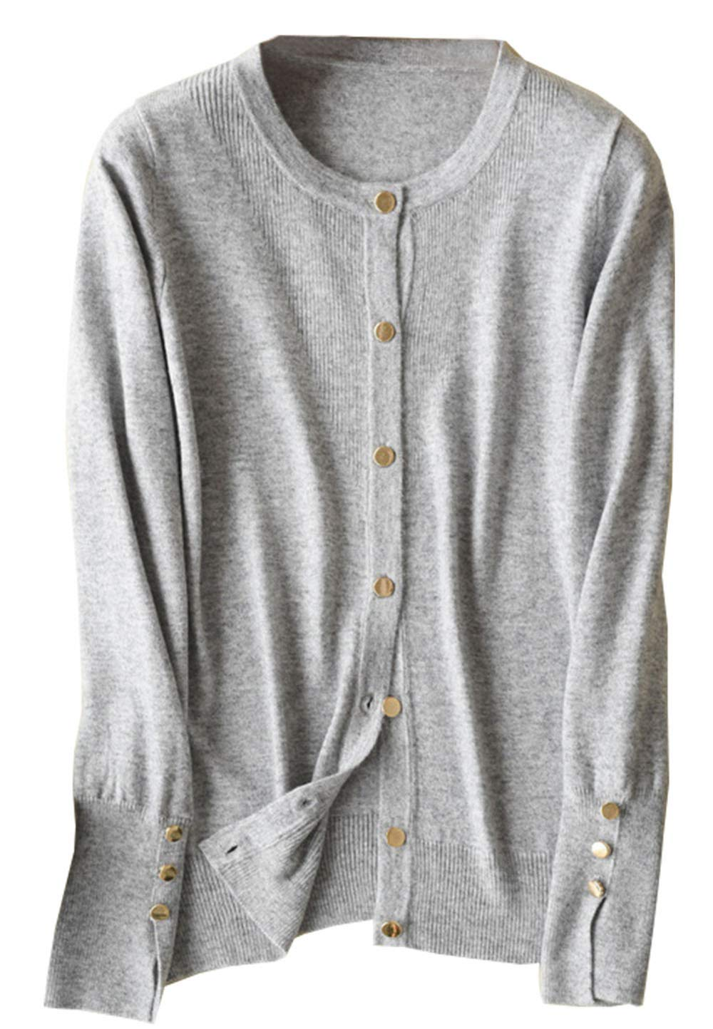 Womens Cashmere Blend Crewneck Button Down Knit Petite Fashion Cosy Cropped Crochet Cardigan Sweater Tops Knitwear Light Grey US 10