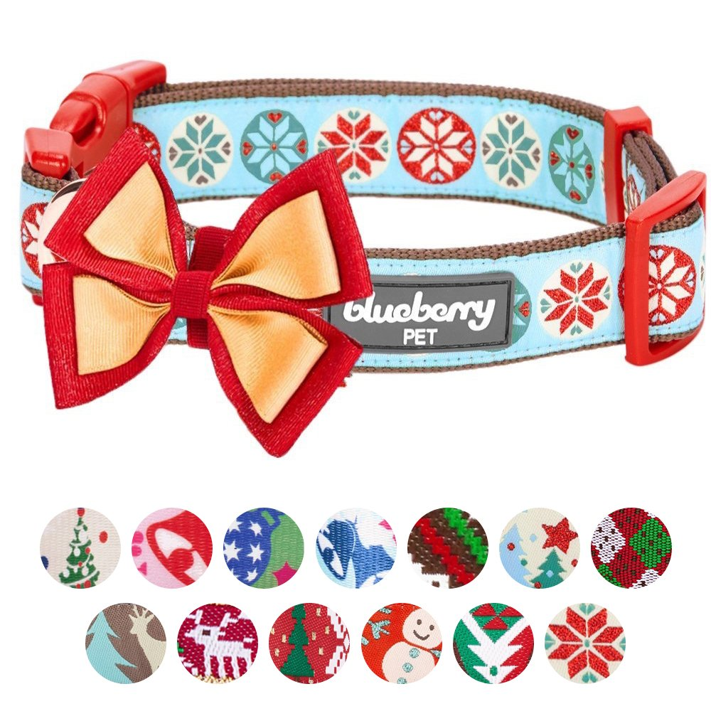 Blueberry Pet 14 Patterns Moments of Joy Vintage Snowflakes Christmas Designer Dog Collar, Small, Neck 12''-16'', Adjustable Collars for Dogs