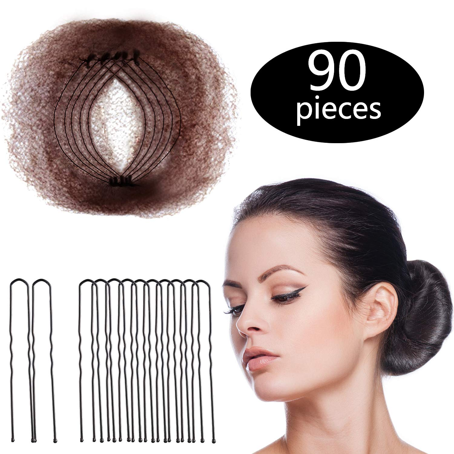Hair Nets Invisible Elastic Edge Mesh and U Shaped Pins Set, 50 Pieces 50cm Individual Package Invisible Hair Nets, 40 Pieces U Shaped Pins for Women Bun (Brown)
