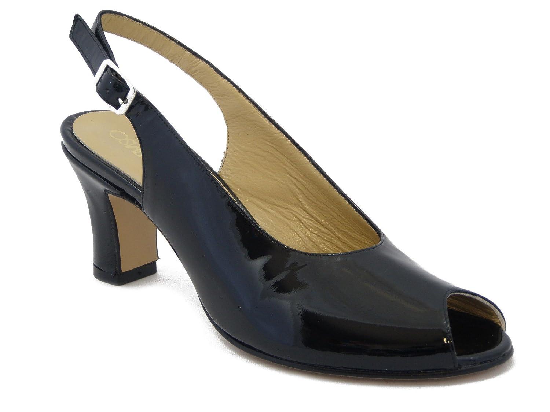 OSVALDO PERICOLI Sandalo Elegante, Scarpa in Pelle Vernice con Tacco 6cm. e Suola in Vero Cuoio con Antiscivolo Estivo 638 -