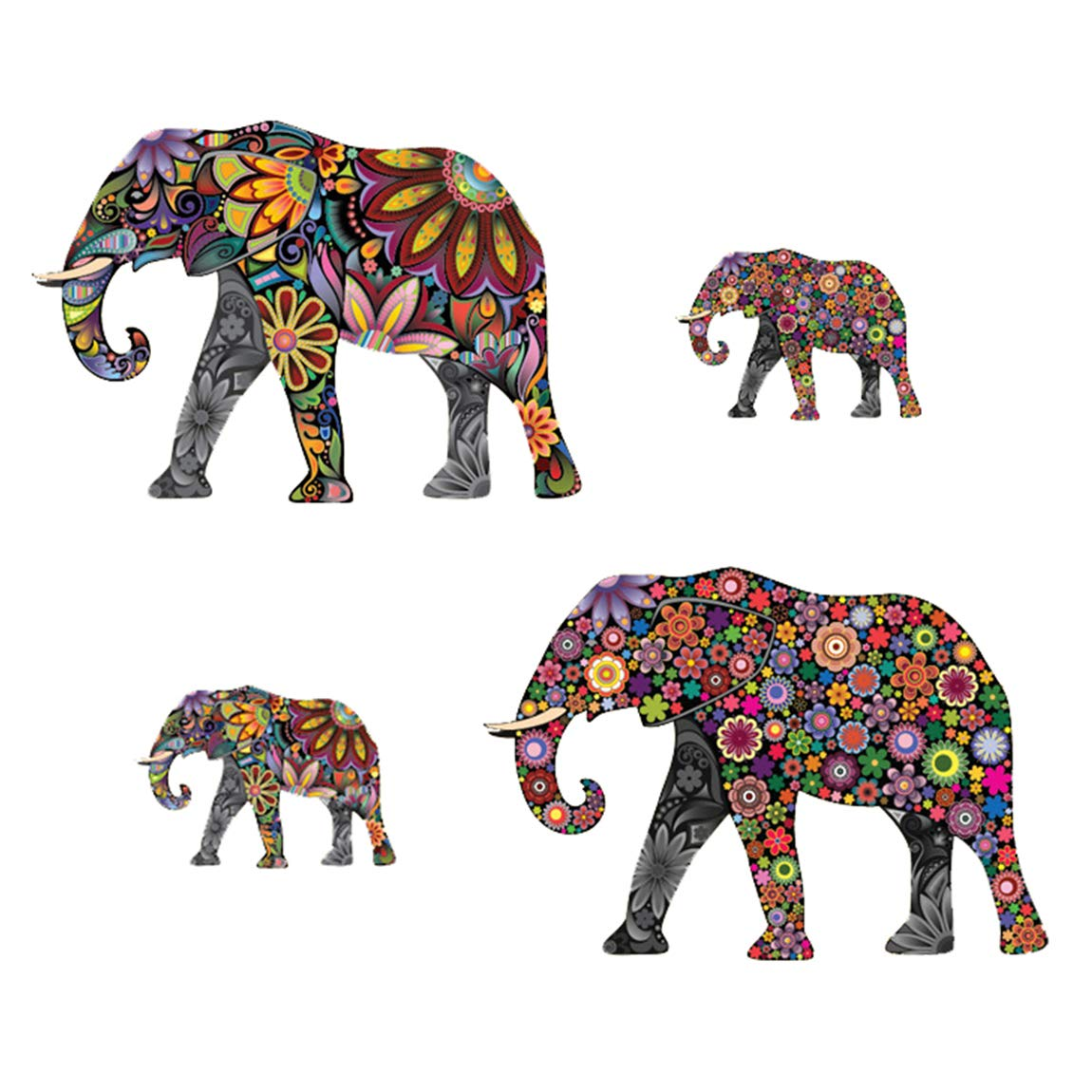 Peel and Stick Wall Decals Removable Wall Art Stickers for Home Office Nursery Decor(Colorful Elephant)