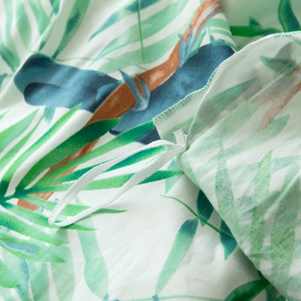 Jane yre Tropical Green 3 Piece Duvet Cover Set Bedding Set.Hawaiian Duvet Covers Tropical Woodpecker Bedspread Green Leaves Quilt Cover Queen Size by Jane yre (Image #7)