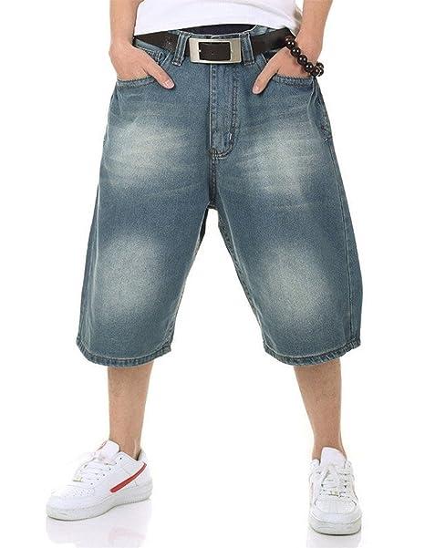 QBO Hombres de Hip Hop Vaqueros Baggy Loose Denim pantalones cortos  recortadas pantalones  Amazon.es  Ropa y accesorios fdc772f137a