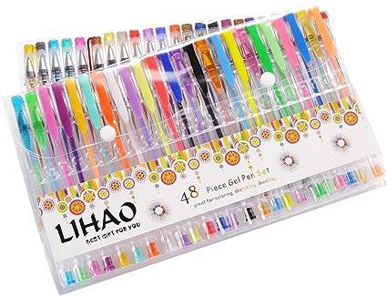 LIHAO 48 Plumas Gel Colores Bolígrafos de Tinta Gel Ink Pen Set: Amazon.es: Oficina y papelería