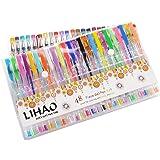 Penne Colorate, LIHAO Kit 48pz Penne Gel per Colorazione, Glitter, Pittura e Disegno