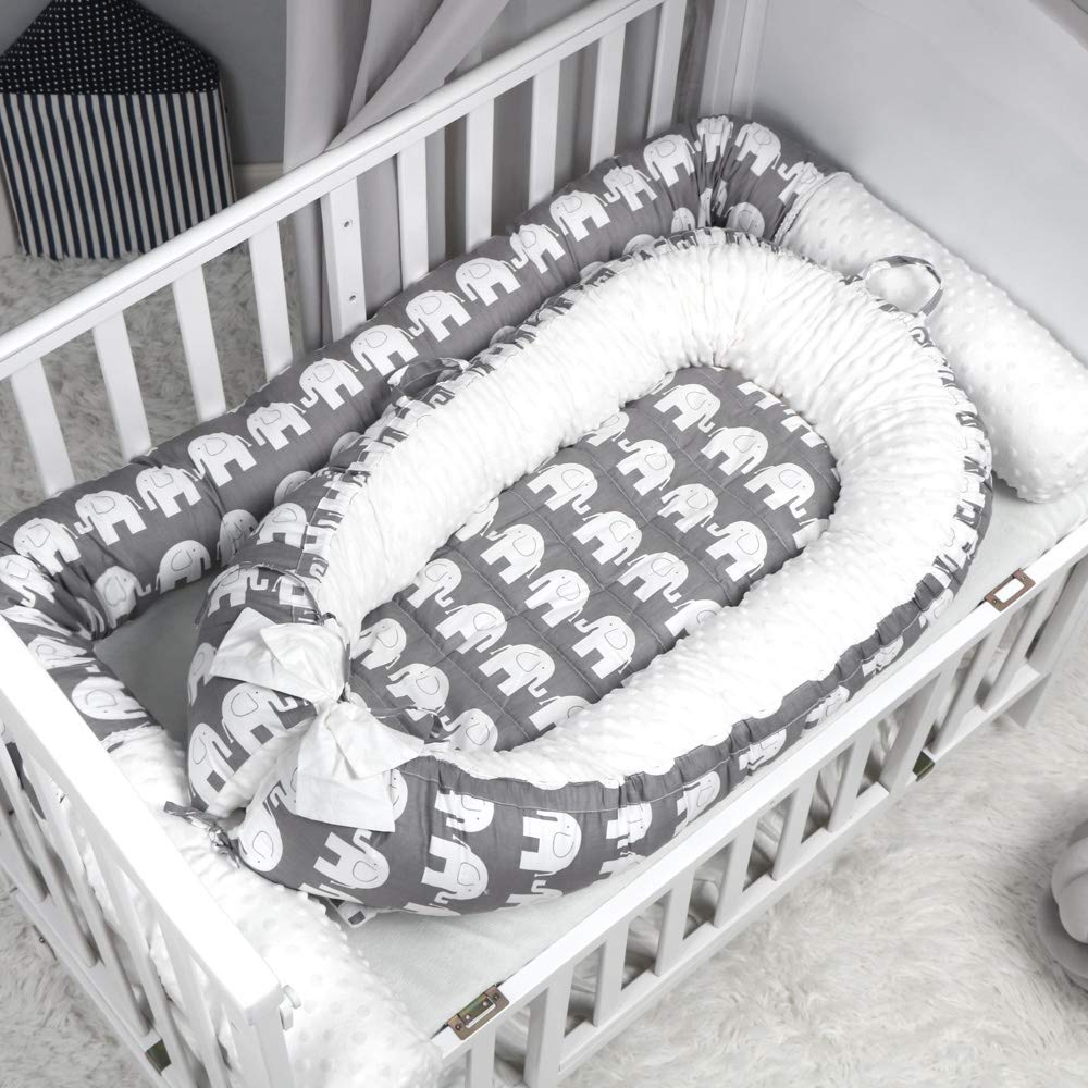 Peggys Cove Baby Crib Bumper Nursery Cradle Decor Newborn Cushion Junior Bed Sleep Bumper 2 Meters, White-Gray-Elephant