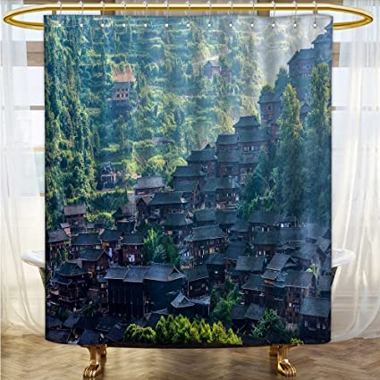 Amazon Also Easy Shower Curtain With Hooks Miao Village Scenery