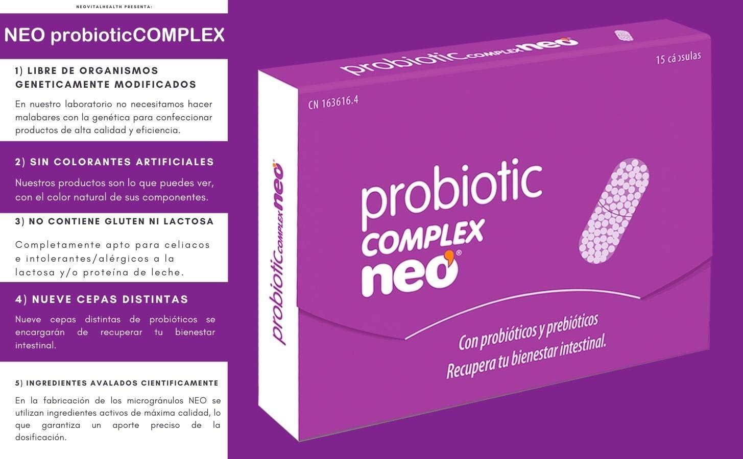 NEO - PROBIOTIC COMPLEX 15 Cápsulas con Probióticos y Prebióticos   Contribuye a la Flora y Bienestar Intestinal   Sin Derivados Lácteos   9 cepas ...