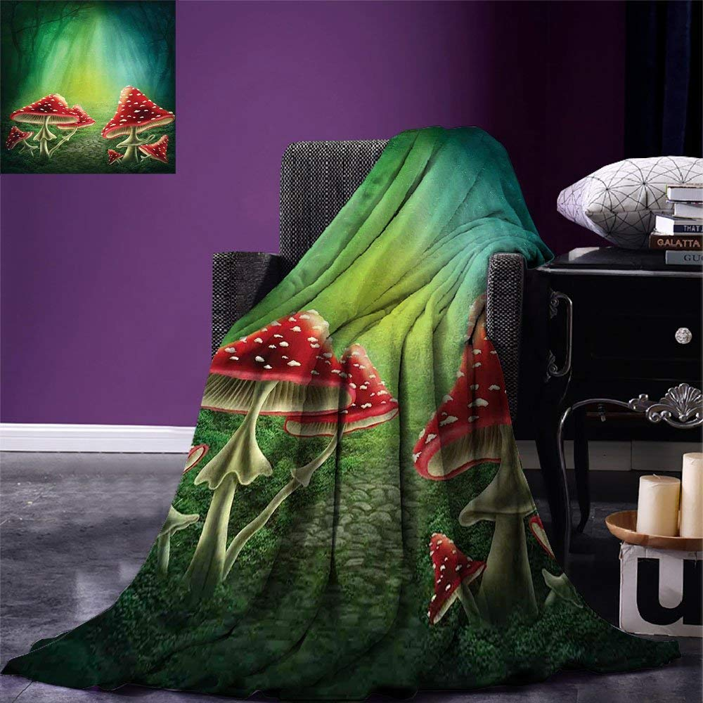 color14 62\ SINOVAL Mushroom Warm Microfiber All Season Blanket Fairy Tale Illustration with Poisonous Fungus Dreamy Fantasy Enchanted Wilderness Print Artwork Image£¬Multicolor, Multicolor