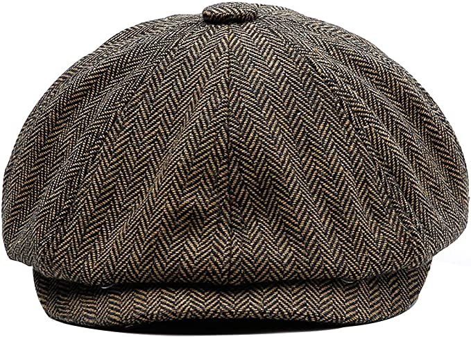 Men Herringbone Tweed Peaky Blinders 8 Panel Vintage Classic Retro Cap Hat