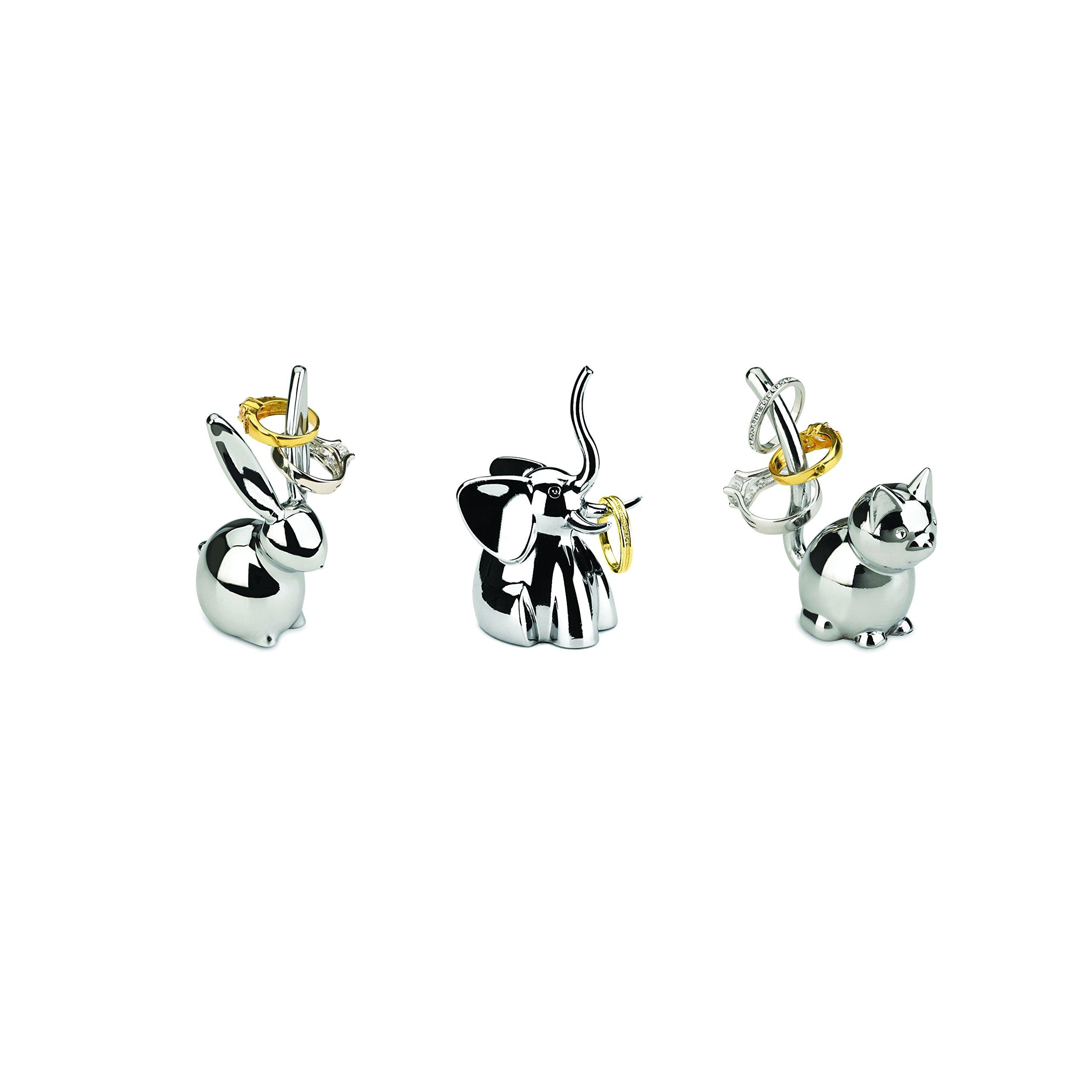 Umbra Zoola Ring Holders, Set of 3 - Bunny, Cat, Elephant, Chrome