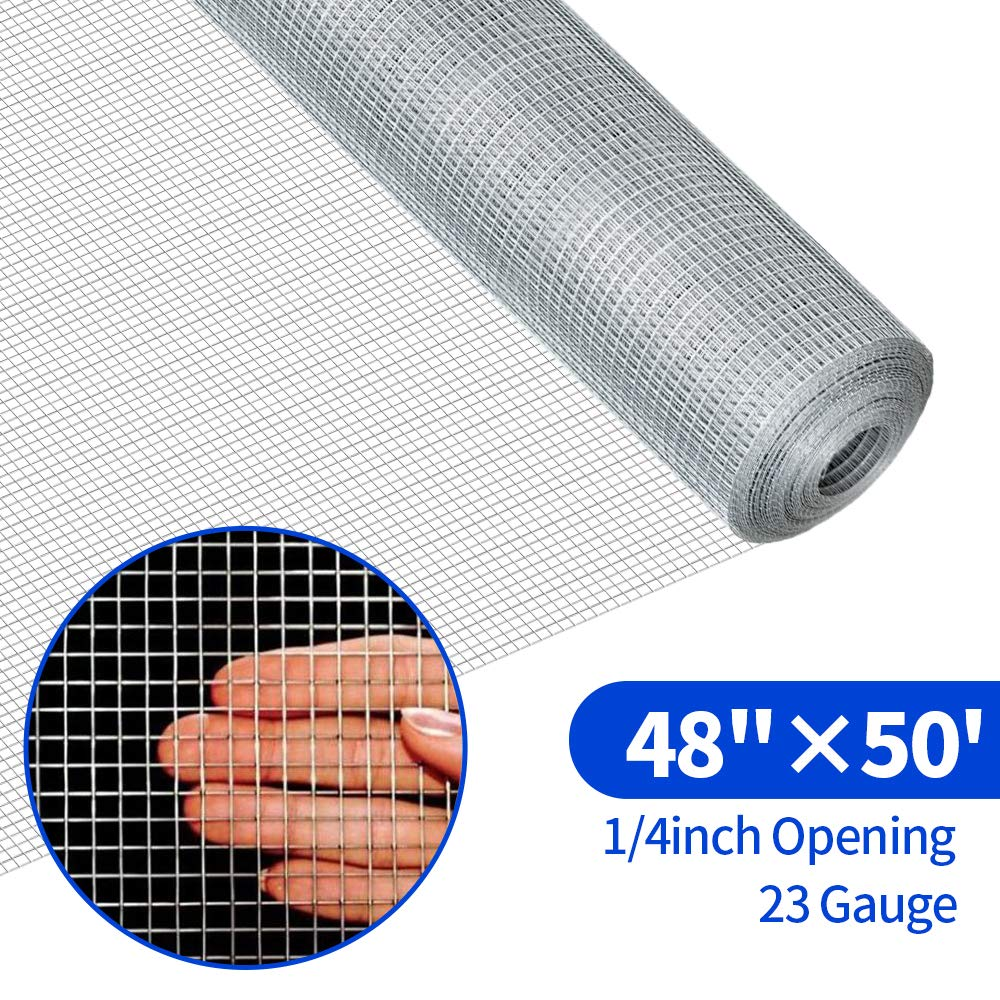 48x50 Hardware Cloth 1/4 inch Square Galvanized Chicken Wire Welded Fence Mesh Roll Raised Garden Bed Plant Supports Poultry Netting Cage Wire Snake Fence by AMAGABELI GARDEN & HOME