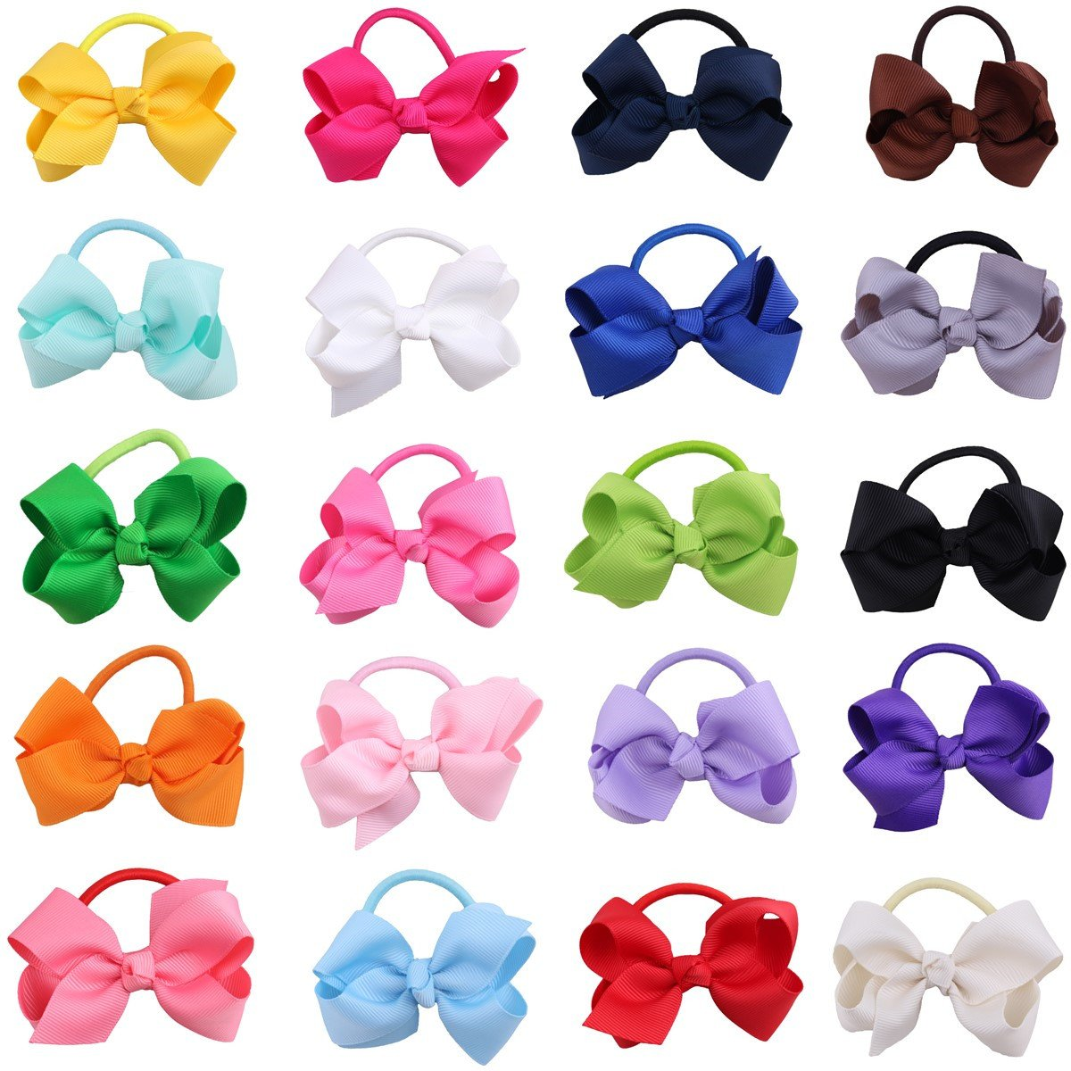 20PCS Baby Handmade Grosgrain Ribbon Boutique Elastic Bow Bows Bowknot Hair Bobbles Band Ponytail Holders For Girls kids Child Toddlers Random Color