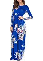 Simier Fariry Women's Pockets Pleated Loose Swing Casual Floral Maxi Dress