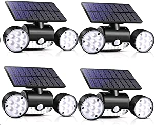 Outdoor Solar Lights, YUJENY 30 LED Dual Head Spotlights Waterproof Solar Poweredwith Wall Lights 360-Degree Rotatable Solar Motion Security Night Lights for Outdoor Pation Garden Deck (4 Pack)