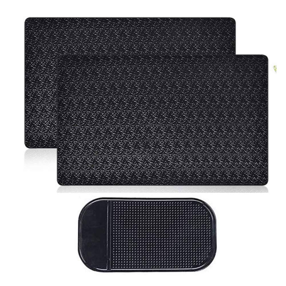 Sticky Car Dashboard Pads Premium Anti-Slip Gel, MoRange 2 Packs Reusable Non-Slip Mounting Mats for Cell Phone Sunglasses Keys (11'' x 7'') by Qtopun,Morange