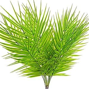 SLanC 12 Pack Artificial Palm Plants Leaves Faux Leaf Fake Tropical Large Palm Tree Leaves Imitation Leaf Artificial Plants for Home Kitchen Party Flowers Arrangement Wedding Decorations