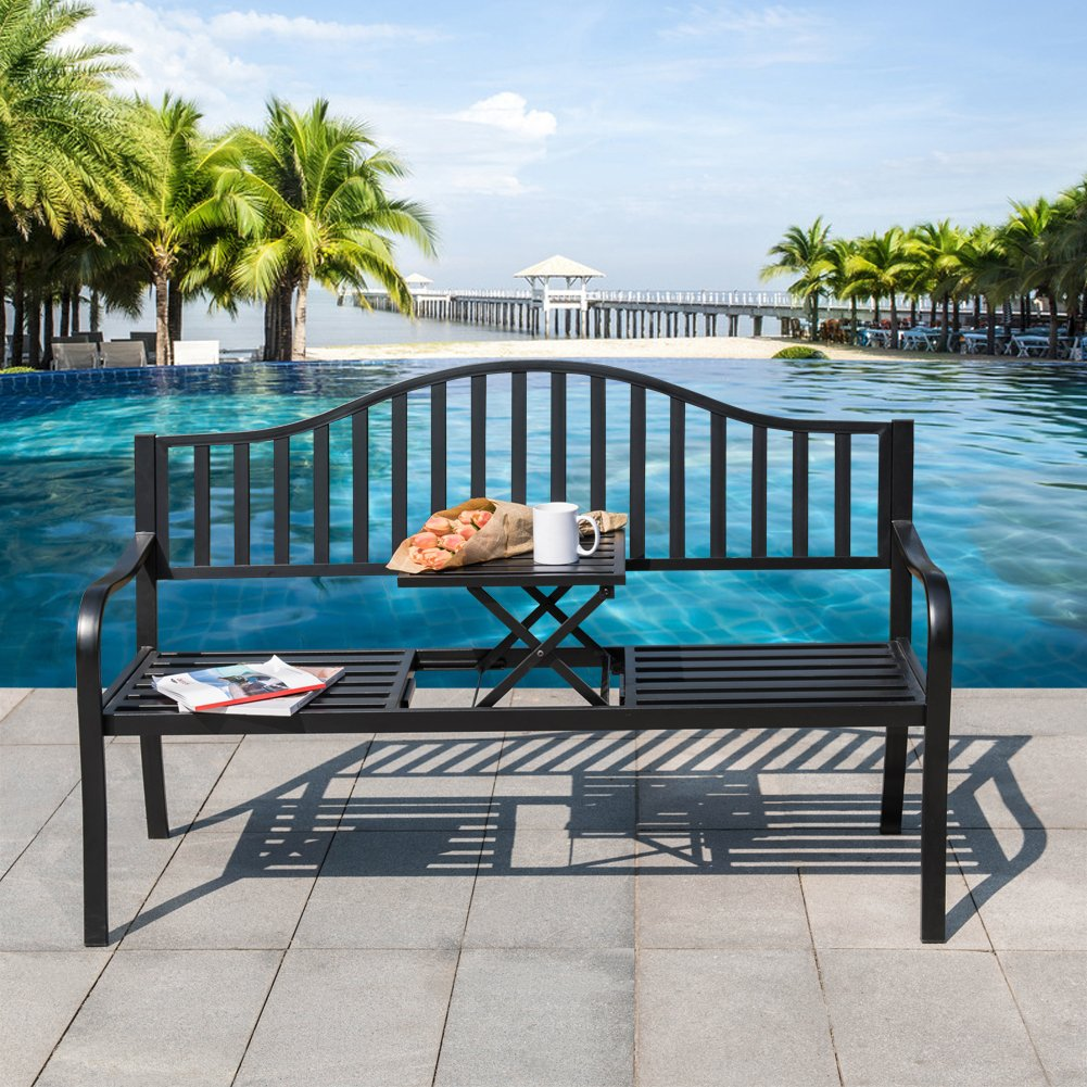 Sundale Outdoor Deluxe Cast Iron Steel Frame Patio Park Garden Bench Chair, Black