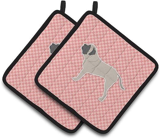 7.5HX7.5W Multicolor Carolines Treasures English Mastiff Checkerboard Pink Pair of Pot Holders BB3656PTHD