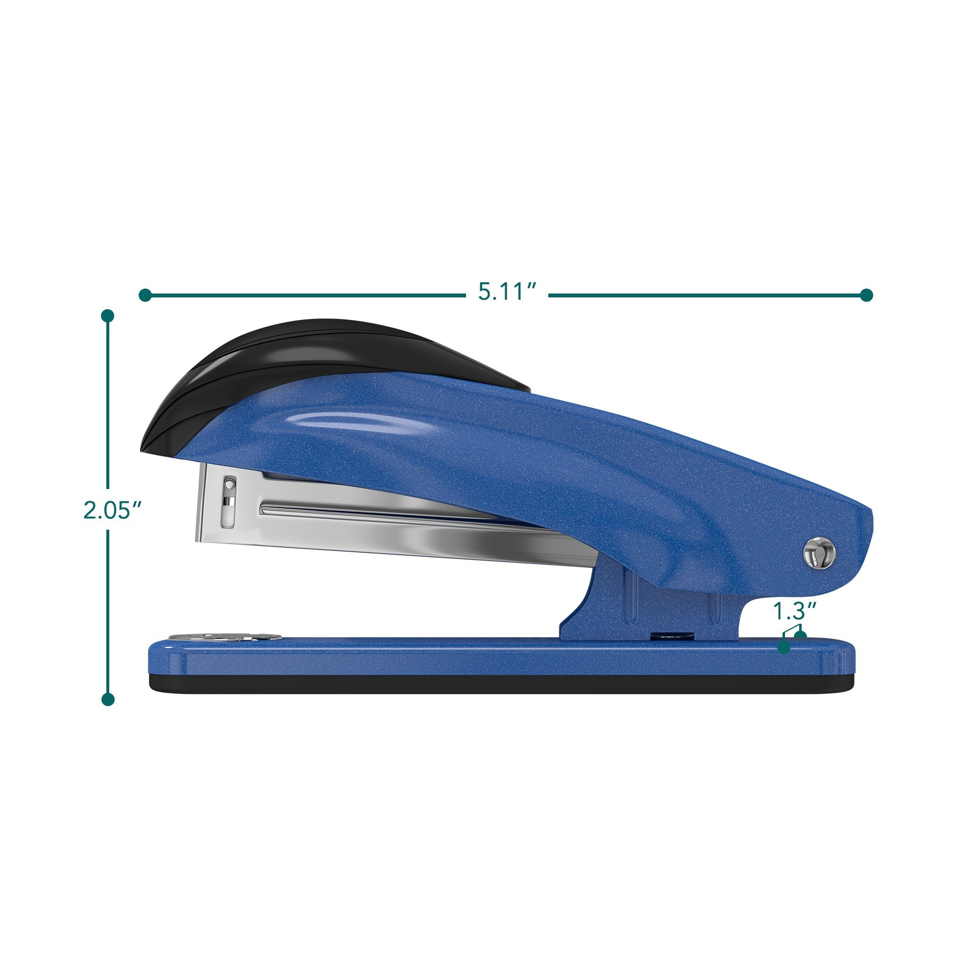 Desk Stapler Set (4 Pack) for Office, School and Home - Small, Compact, Effortless & Ergonomic Metal Design - 20 Sheets Standard 24-26/6 Size - Blue by desired tools (Image #2)