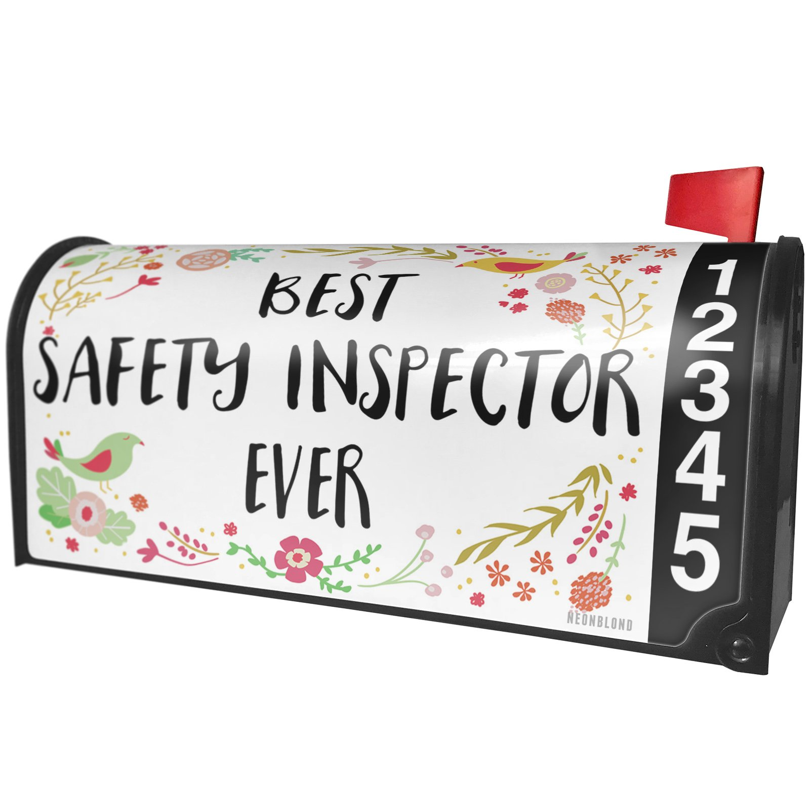 NEONBLOND Happy Floral Border Safety Inspector Magnetic Mailbox Cover Custom Numbers