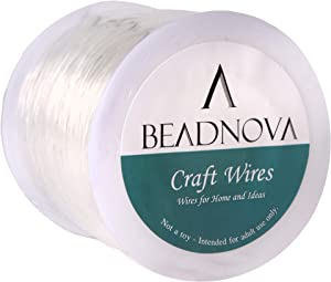 BEADNOVA 0.6mm Bracelet String Clear Craft Wire Stretch String Cord for Jewelry Making Beading Thread Elastic String Cord (100m)