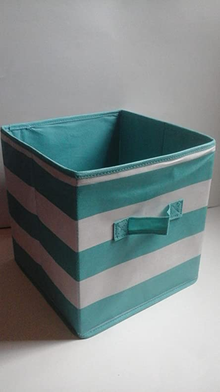 2 Teal Stripe Mainstays Collapsible Storage Bins 10.5 In W X 10.5 In D X 11