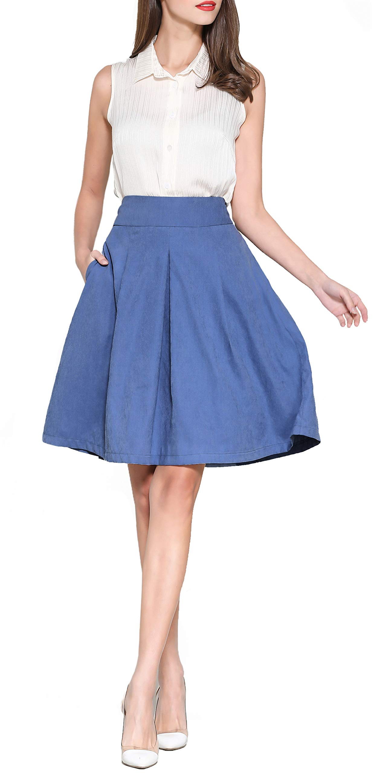 Knee Length Flowing Midi Skirt for Women Work Outfit Aline Skirt with Rubber Band Women's High Waist Pleated Blue Midi Skirt with Pockets Blue M