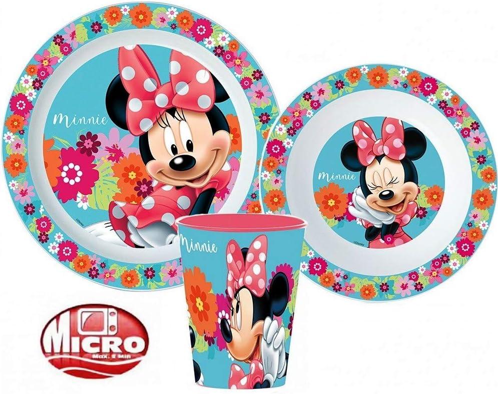 Compatible avec Set Repas Minnie Assiette Gobelet Dejeuner Plastique New