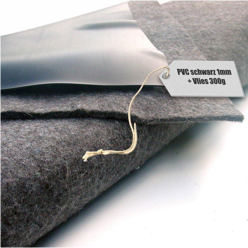 Teichfolie PVC 1mm schwarz in 12m x 12m mit Vlies 300g//qm