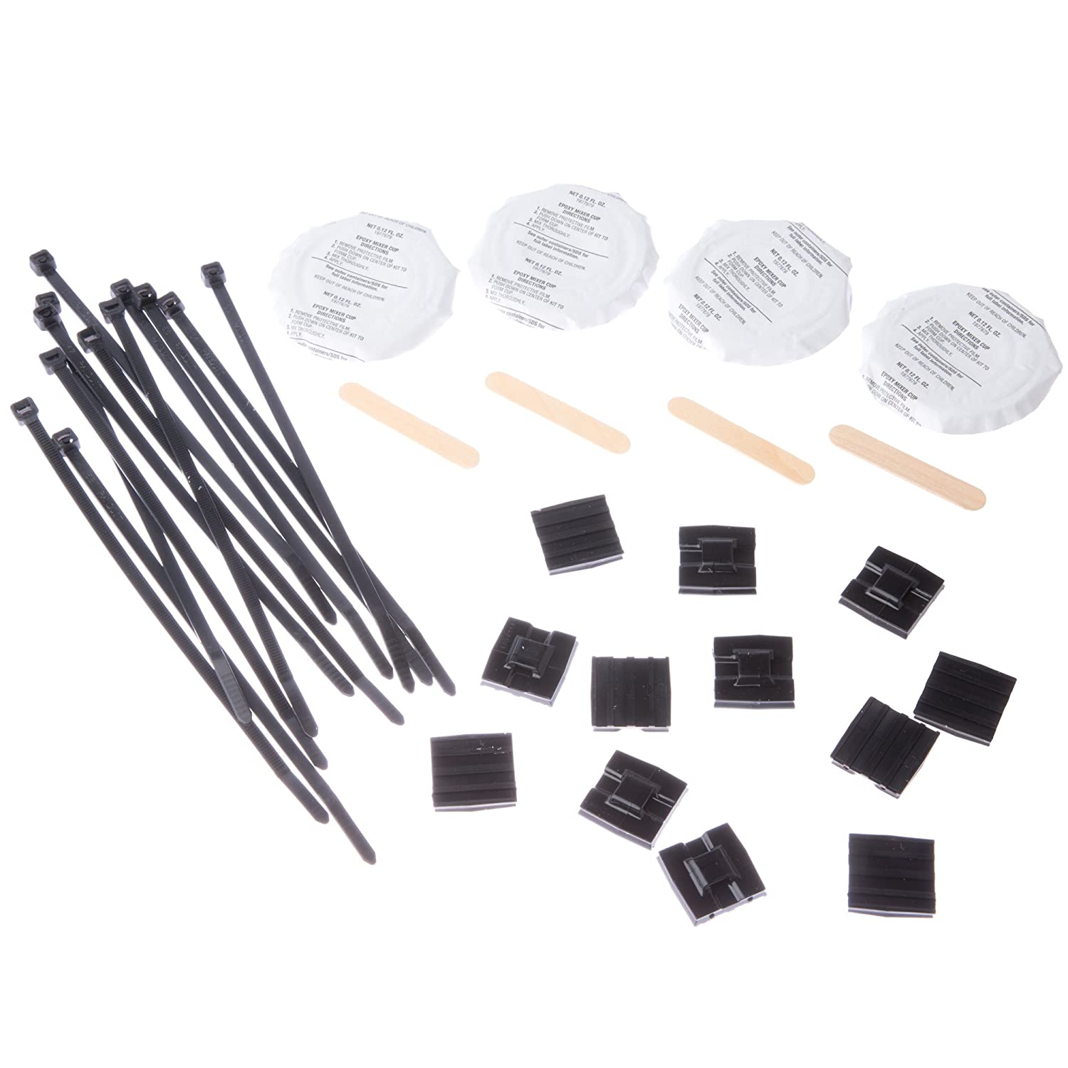 Pack of 10 Panduit EMSK12-4-12-X0 Epoxy Applied Cable Tie Mount Kit 12 Cable Ties Indoor//Outdoor Environment 4 Epoxy Cups 12 EMS Mounts 4 Mixer Sticks Epoxy Mounting Kit with EMS Mounts and Cable Ties