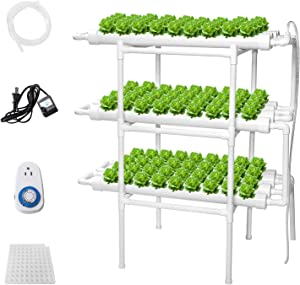 Sidasu Hydroponic Grow Kit 108 Sites 12 Pipes Hydroponic Planting Equipment Ebb and Flow Deep Water Culture Balcony Garden System Vegetable Tool Grow Kit