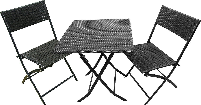 【ガーデンテーブル3点セット】 スクエアーラタン RH-8031 ブラック B00BWJQIXG