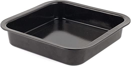 Square Roasting Tin Non Stick Oven Baking Tray Carbon Steel Roaster Pan 22 cm Speckled