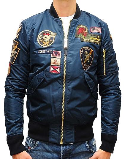 a5adcd6a0bb Bomber Jacket Schott MA-1 JKTACBADGES Navy  Amazon.co.uk  Clothing