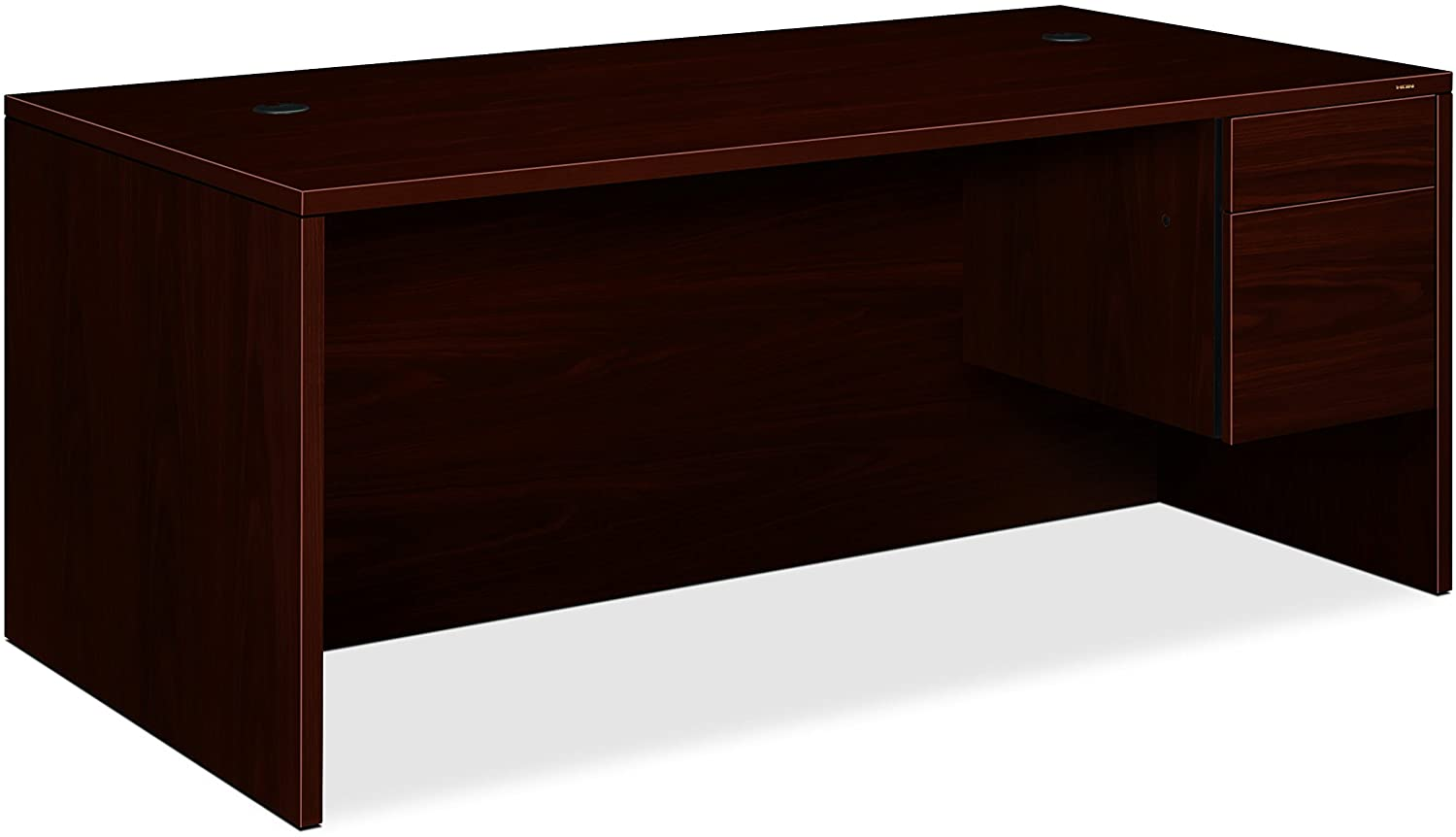 HON 10583RNN 10500 Series 66 by 30 by 29-1/2-Inch Right Pedestal Desk, Mahogany