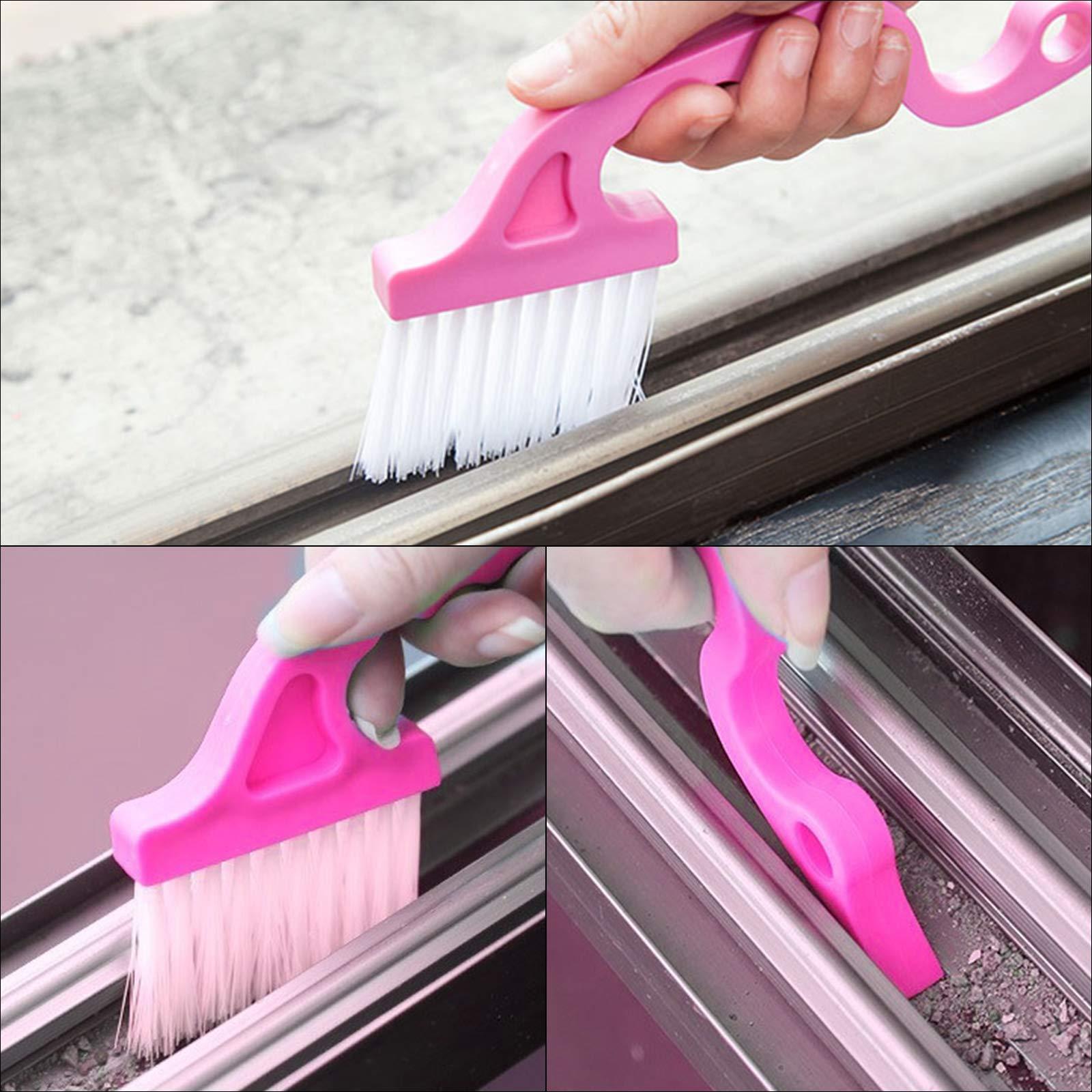 TAZEMAT 5 Stücke Nut Reinigungsbürsten Fenster Gap Groove Reinigungsbürste mit Transparenter Haken Reinigungsbürsten für Türen Fenster Jalousie Klimaanlage Tastatur
