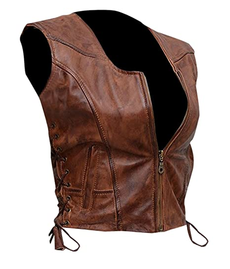 ae11c5418 Spazeup Women Brown Leather Vest