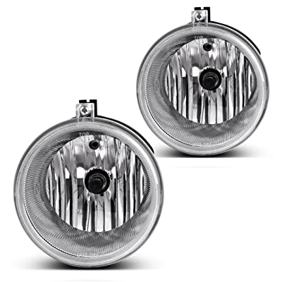 Fog Lights Compatible with Chrysler 300 Touring 05-09 Aspen 05-09 Dodge Dakota 05-09 Durango 07-09 Jeep Commander 06-10 Grand Cherokee 04-10 Mitsubishi Raider 06-08 (Clear Lens w/ H10 12V 42W Bulbs): Automotive