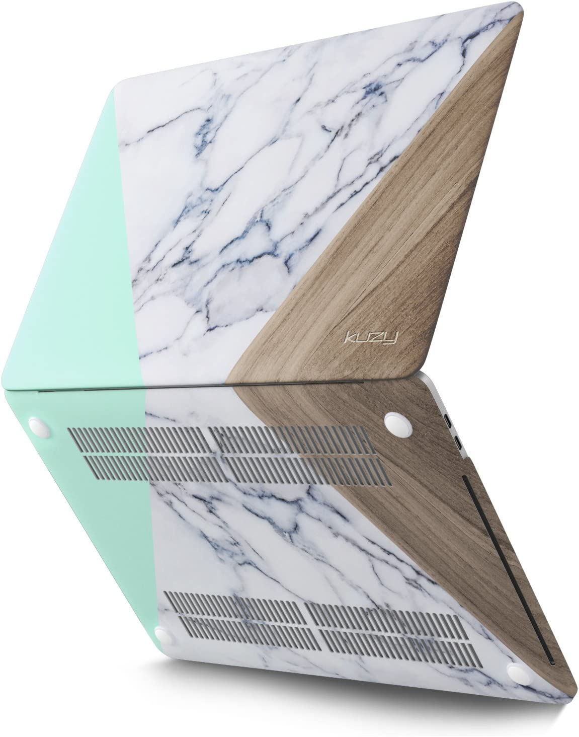 Kuzy - MacBook Pro 15 inch Case 2019 2018 2017 2016 Release A1990 A1707, Hard Plastic Shell Cover for Newest MacBook Pro 15 case with Touch Bar Soft Touch - Marble Mint Wood Pattern
