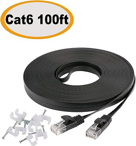 2 Ft Cat.6 Flat Ethernet Network LAN Patch Cable Black.