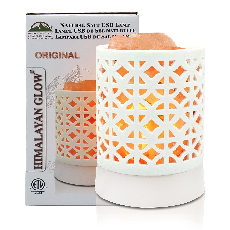 Himalayan Glow 921BA Basket Lamp, Ceramic USB White Salt Lamp