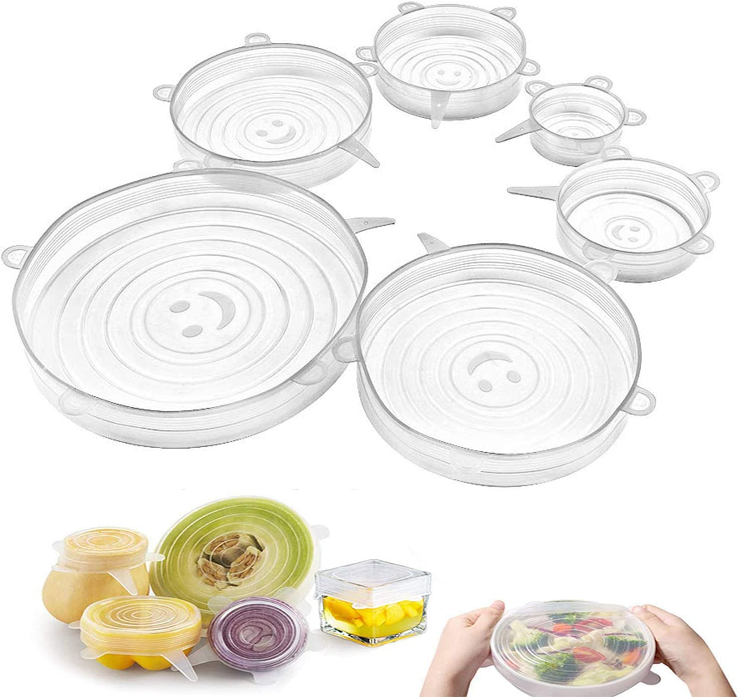Getfitsoo Silicone Stretch Lids 6 Pack,Reusable Silicone Covers for Various Sizes Bowls, Eco-Friendly Bowl Lids for Sealing Food to Replace Plastic Wrap