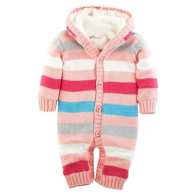 MNBS Peleles bebe invierno raya encapuchado Suéter sweater abrigos bebe niño ninas sudaderas suéter ropa-Rosa-2A: Amazon.es: Ropa y accesorios