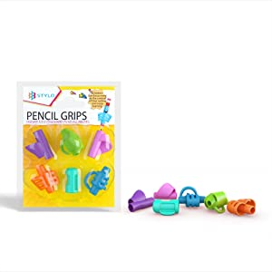[6-Pack] Ergonomic Pencil Grips Multi-Colour Designs